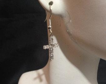 Swarovski Crystal Cross Earrings, Faith Earrings, Baguette Cross Earrings, Sparkle Cross Earrings, Religious Gift