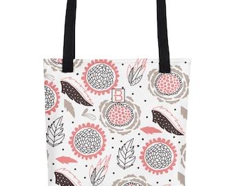 """Tote bag 15"""" x 15"""", Floral design, Resistant fabric, dual handles, brown&pink"""
