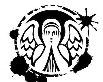 Splatter Paint Weeping Angel decal vinyl sticker Doctor Who