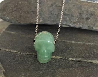Jade Skull Pendant Necklace \\ Jade Jewelry \\ Silver Chain