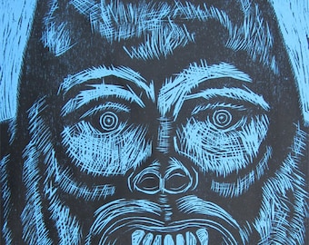 Gorilla Head Woodcut