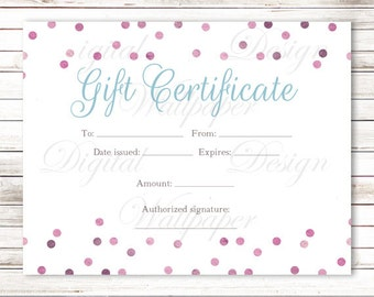 Gift Certificate Printable,Gift Certificate Download,Confetti Gift Certificate,Confetti Gift Card,Gift Card,Certificate,INSTANT DOWNLOAD