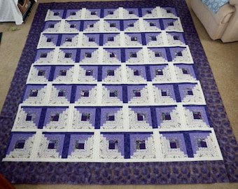 92 by 82 inches Log Cabin Quilt TOP!