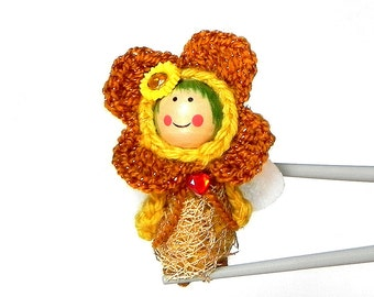 Gold Flower Fairy MochiQtie Amigurumi - Mochi size crochet mini stuffed toy doll - Crochet Amigurumi art doll