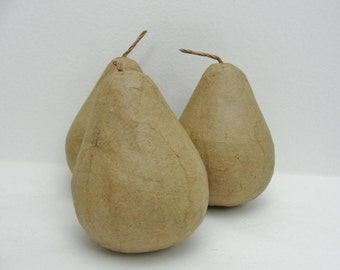 Paper Mache pear, life size pear set of 3