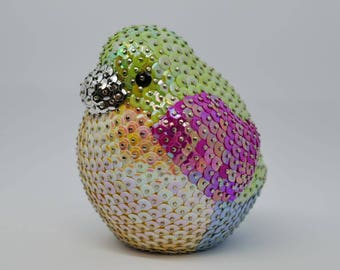 Decoration - Bird made from sequins, colorful birdy, Spring Bird, Gift idea for her