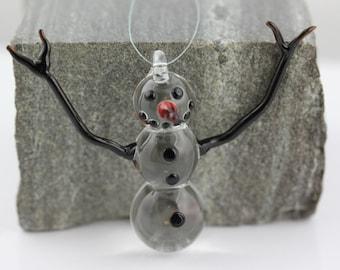 Handmade Glass Snowman Ornament