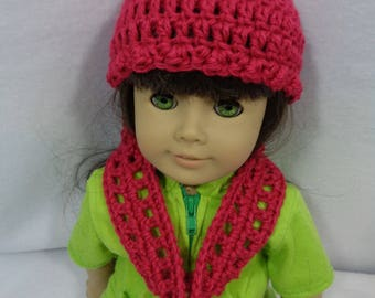 18 Inch Doll Infinity Scarf and Hat, Dark Rose Crochet Hat and Scarf for American Girl, Gift for Little Girl, Valentine's Day Present