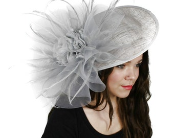 Magdalena Grey  Fascinator Hat for Weddings, Races, and Special Events With Headband (in 25 colours)