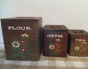Vintage Wooden Nesting Box Canisters ~ Dovetail corners Orange Cream Flowers