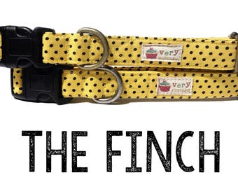 "Modern & Trendy Vintage Inspired Yellow Black Polka Dot Dog Collar -  Organic Cotton - Antique Metal Hardware - ""The Finch"""