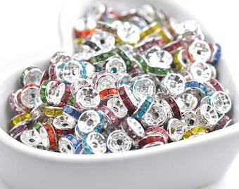 20 pretty beads rondelle spacers color silver and rhinestone mix color 6mm