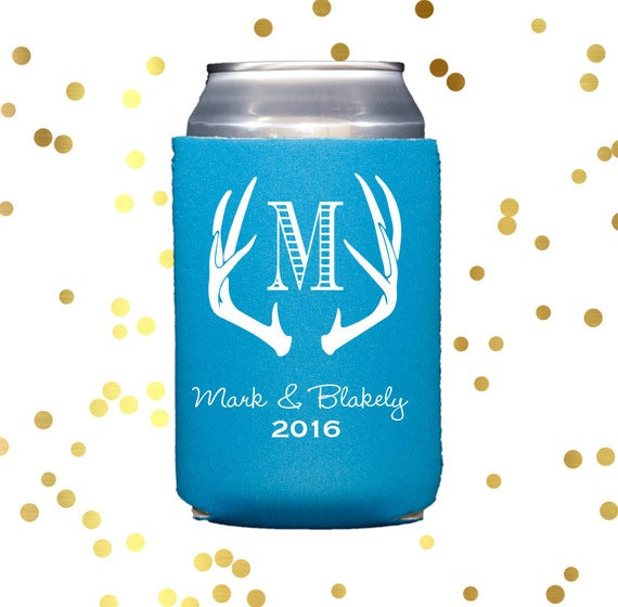 Antler huggie, Personalized Reception can cooler, antler can cooler, wedding can cooler, neoprene personalized party favor, drink sleeve