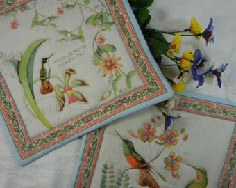 Quilted Cotton Fabric Trivets (2) Set #1 - Hummingbirds and Flowers