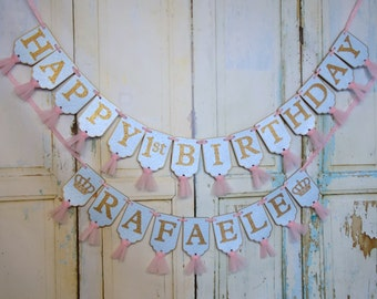 Happy 1st Birthday Banner, Girls Name Banner with Crowns Optional, Embossed Blue Pink and Gold Banner with Tulle, First Birthday Decorations