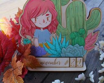 Hand Painted Perpetual Calendar - Cactus Babe