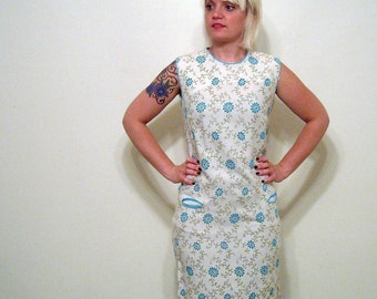 Vintage 1960s Dress // Floral Print Sheath Dress // Turquoise Flower Dress // Office Fashion Large Back to School Mad Men