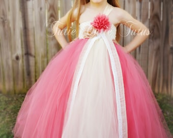 Coral and Ivory with Burlap Flower Girl Tutu DressNB-8