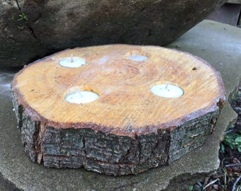 Rustic Hard Wood Tea light Candle Holder ( 4 Tea Lights )
