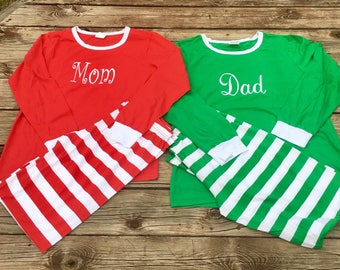 Personalized Christmas Pajamas, Matching Adult & Kids Christmas Pjs, Monogrammed Christmas Pajamas, Christmas Gift, Monogram PJs
