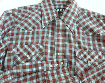 Men's Gap Tartan Western Shirt Pearl Snap Buttons Size Large