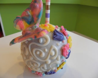 Chocolate covered candy apple, chocolate dipped candy apple, fancy party butterfly favor, apple party favor, dipped chocolate candy apple