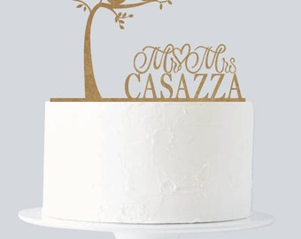 Rustic Wedding Cake Topper - Bride and Groom - Love Birds - Love Tree - Custom Cake Topper A740
