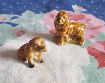 Miniature Dollhouse Dogs Pet Animal Bone China and Porcelain Puppy Dogs 1:12 Scale FS