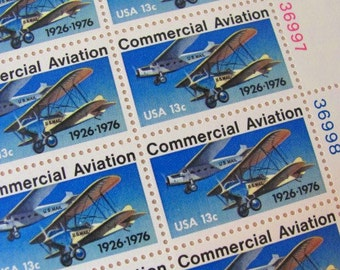 Vintage Stay Flyyy Lot of 14 US UNused 1970s Commercial Aviation 13 Cent Postage Stamps
