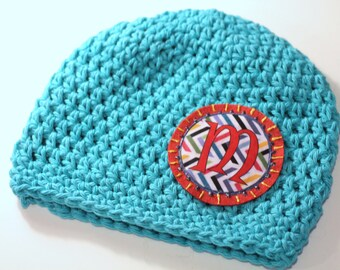 Turquoise Cotton Crochet Beanie   Monogrammed Hat for Girls   Baby Beanie   Newborn Hats   Handmade Hats   Kids Personalized Accessory