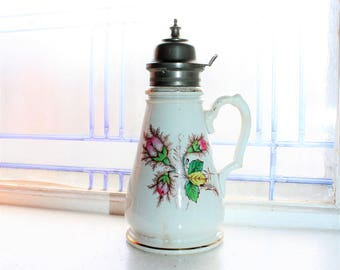 Antique Ironstone Syrup Pitcher 1800s Knowles Taylor Knowles Transferware