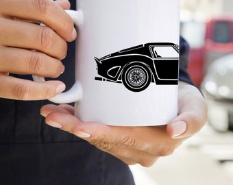 KillerBeeMoto:  U.S. Made Limited Release Vintage Italian Race Car Coffee Mug (White)