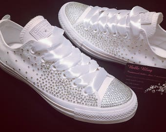 Wedding bridal customised converse, crystals, charms, bling made to order
