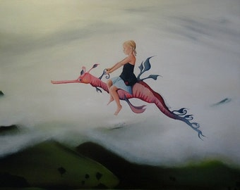 "Giclee Small Print of original painting ""Far Far Away"", girl on sea dragon flying over landscape"