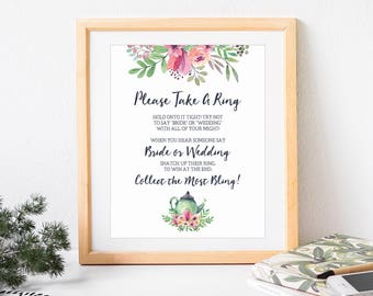 Don't Say Bride Game, Please Take  a Ring, Bridal Shower Game, Bridal Shower Tea Party, Wedding Shower Game, Tea Party, Printable No. 1018