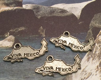 Viva Mexico State Charm - 5 pieces-(Antique Pewter Silver Finish)--style 605--