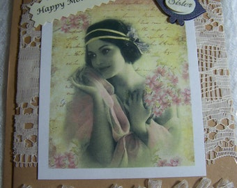 Happy Mother's day, blank card, handmade card, mother's day card for Sister.