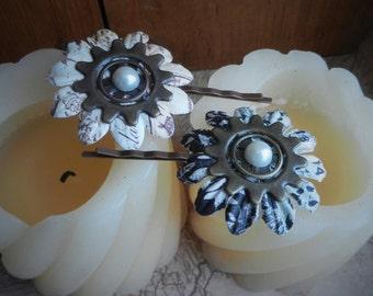 Floral Steampunk Hair Pins