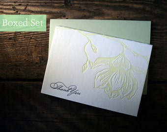 Letterpress Printed Magnolia Thank You Cards