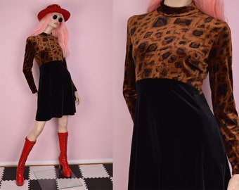 80s Leopard Print Velvet Dress/ US 10/ 1980s/ Long Sleeve