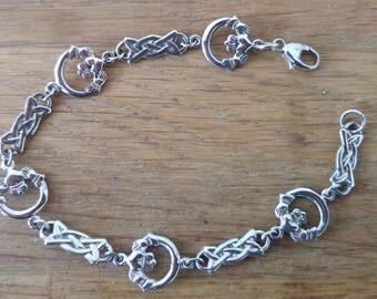 925 Silver Celtic Design Claddagh Bracelet