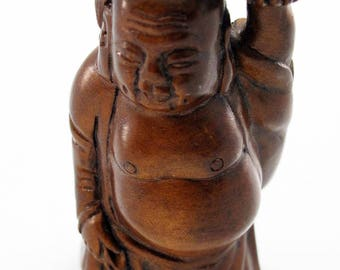 Buddha with Fan Japanese Hand-Carved Boxwood Netsuke Bead