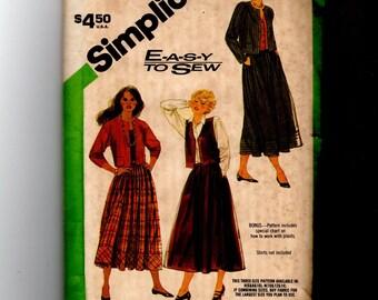 Misses' Skirt Jacket and Vest Pattern 6595