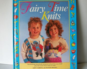 Knitting Pattern Book Fairy Time Knits Childrens 12 Sweaters Vintage Hardcover