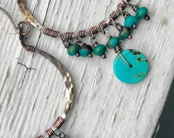Turquoise and sterling silver hoop earrings