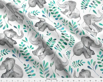 Elephant Fabric - Laughing Baby Elephants Leaves On White By Micklyn - Watercolor Baby Animals Cotton Fabric by the Yard with Spoonflower