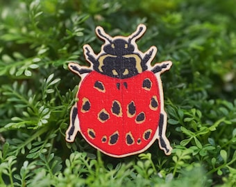 Eyed Ladybird wooden brooch/badge