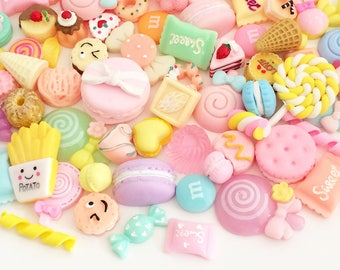 Pastel Sweets Cabochon Mix (10 pcs / 30 pcs by Random) Kawaii Fake Food Deco Resin Cabochons