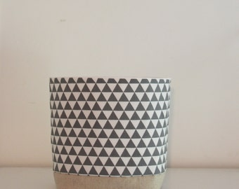 Fabric Storage Basket Grey Triangles