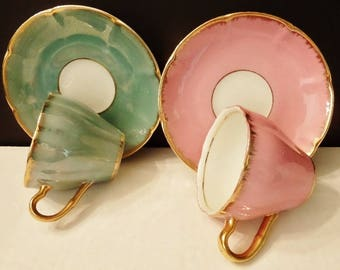 Lot of Two Demitasse Cups and Saucers Japan